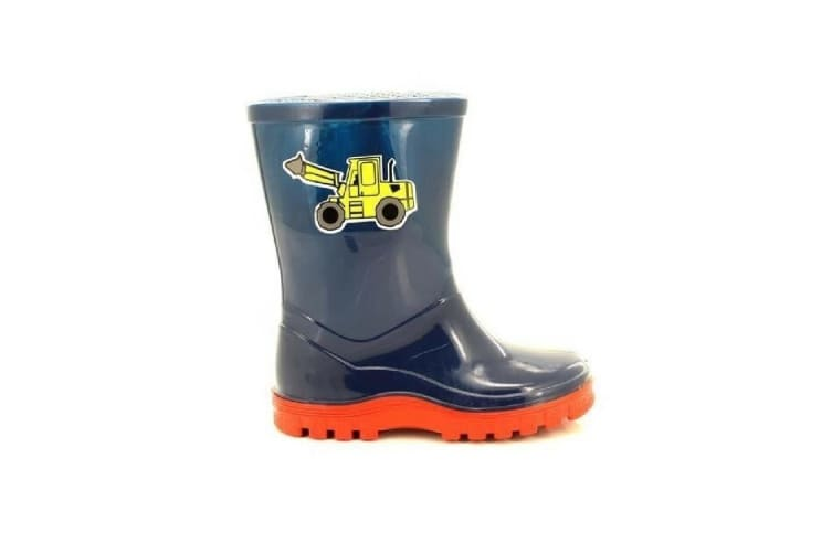 StormWells Boys Puddle Digger Wellingtons (Navy Blue/Red) (4 UK)