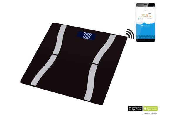 Bluetooth V4.0 Wireless Body Fat Scale 150Kg Health Analyser Android Ios App Blk