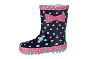 Stormwells Girls Bow Trim Waterproof Wellington Boots (Navy Blue/Pink)
