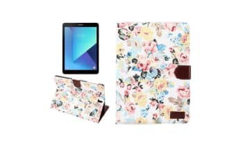 For Samsung Galaxy Tab S3 SM-T810 815 Wallet Case Flower Patterned Cover White