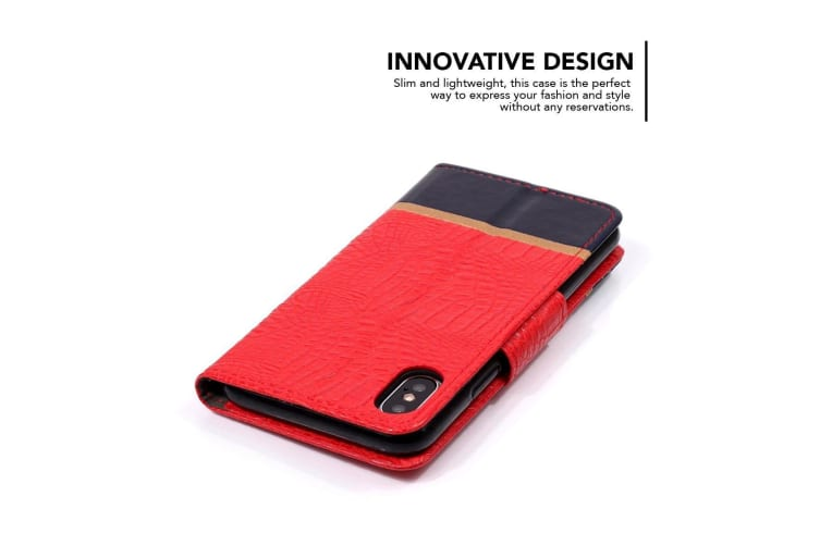 Crocodile Texture Horizontal Flip Leather Case For iPhone XR Red