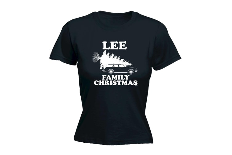 123T Funny Tee - Lee Family Christmas - (Large Black Womens T Shirt)