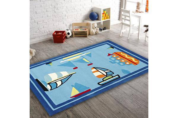 Boats and Ships Rug Blue 165x115cm