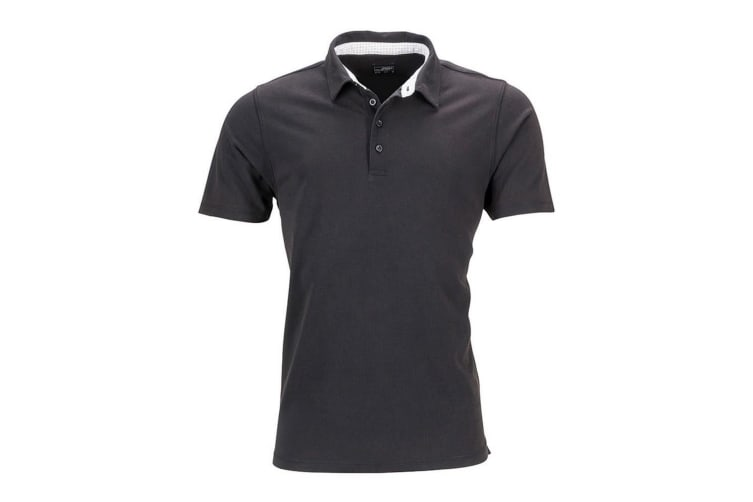 James and Nicholson Mens Short Sleeve Polo (Black/White) (L)