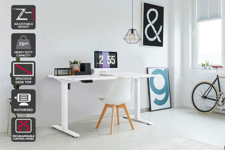 Ergolux Standing Desk Electric Single Motor - Memory (White)