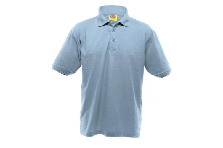 UCC 50/50 Mens Heavyweight Plain Pique Short Sleeve Polo Shirt (Sky Blue) (XS)