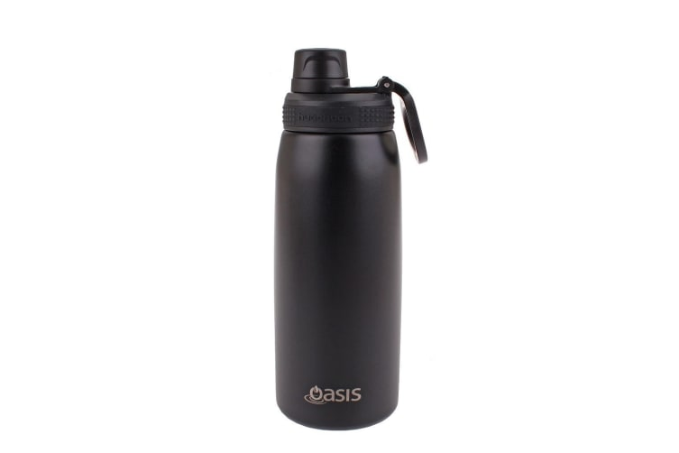 Oasis 780ml Stainless Steel Double Wall Insulated Sports Bottle Screw Cap Black