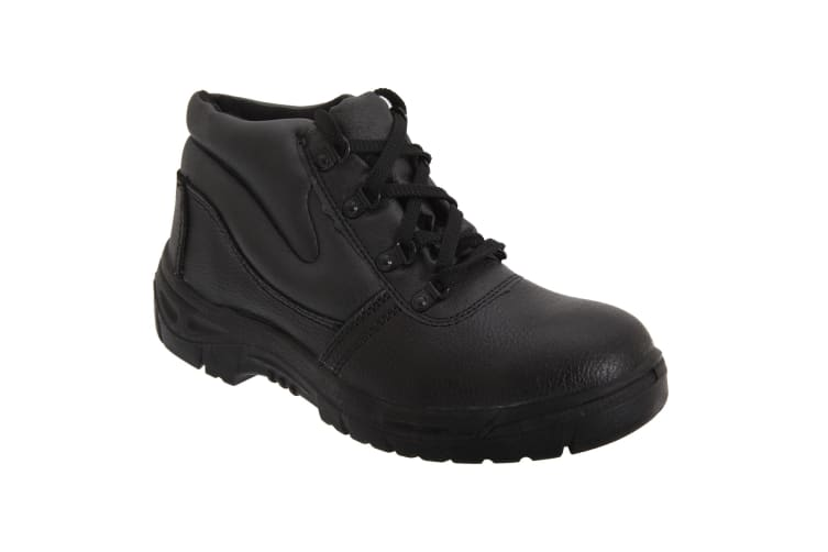 Grafters Mens Grain Leather Padded Ankle Safety Toe Cap & Steel Midsole Boots (Black) (41 EUR)