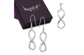 .925 Infinity Necklace And Earrings Small Set-Silver