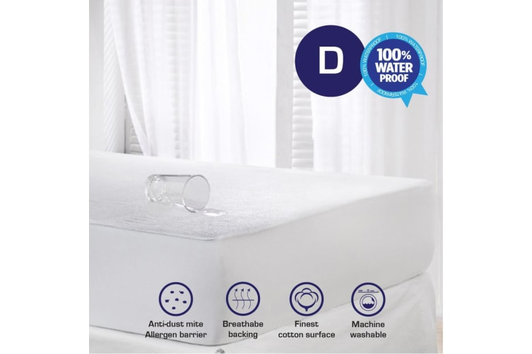New Terry Cotton Fully Fitted Waterproof Mattress Protector-Double