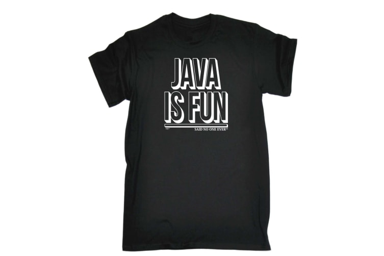 123T Funny Tee - Java Is Fun Snoe - (X-Large Black Mens T Shirt)
