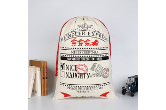 50x70cm Canvas Hessian Christmas Santa Sack Xmas Stocking Reindeer Kids Gift Bag - Cream - Overnight Special Delivery