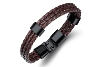 Graceful Russet Leather Wrap-Brown