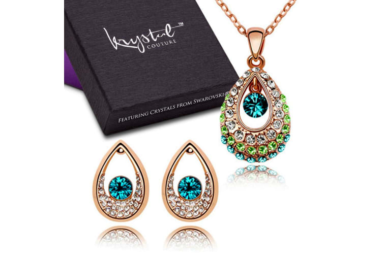 Peacock Necklace and Earrings Set Embellished with Swarovski crystals