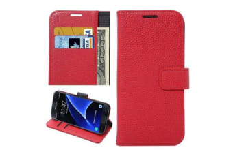 For Samsung Galaxy S7 EDGE Wallet Case  Durable Lychee Leather Cover Red