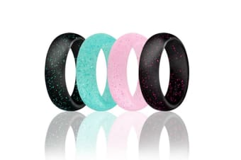 4 pcs Women Silicone Wedding Ring Bands Active Athletes Comfortable Fit Non-toxic Antibacterial 7