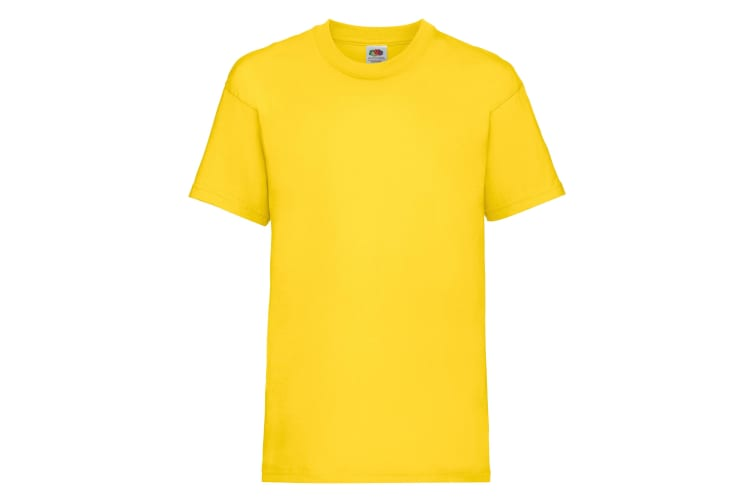 Fruit Of The Loom Childrens/Kids Unisex Valueweight Short Sleeve T-Shirt (Pack of 2) (Yellow) (3-4)