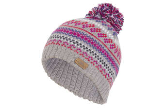 Trespass Childrens/Kids Garrity Knitted Pom Pom Hat (Platinum)