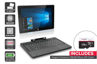 "Kogan Atlas 10.1"" 2-in-1 D400 Touchscreen Notebook + 128GB Micro SD Card Bundle"