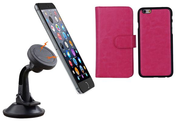 TODO Magnetic Quick Snap Car Suction Mount Leather Credit Card Case Iphone 6+ Plus - Pink