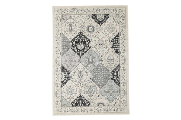 Persian Panel Design Rug Blue Navy Bone 330x240cm