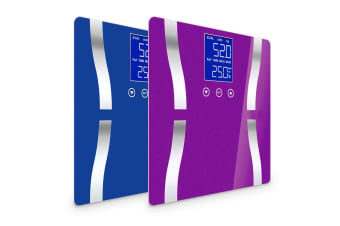 SOGA 2 x Digital Body Fat Scale Bathroom Scales Weight Gym Glass Water LCD Blue/Purple