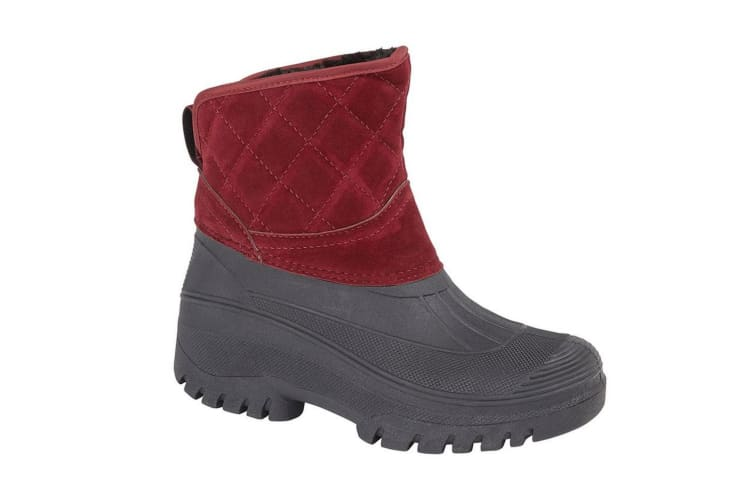 StormWells Womens/Ladies Faux Suede Short Ankle Boots (Burgundy) (6 UK)