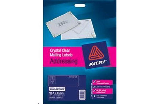 AVERY CLEAR LABEL L7562-25 25 SHEETS