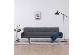vidaXL Sofa Bed with Armrest Grey Faux Leather