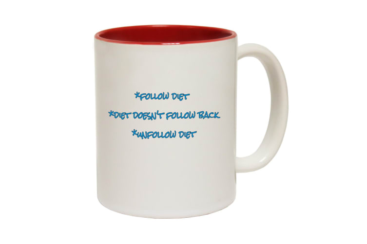 123T Funny Mugs - Follow Diet Unfollow - Red Coffee Cup