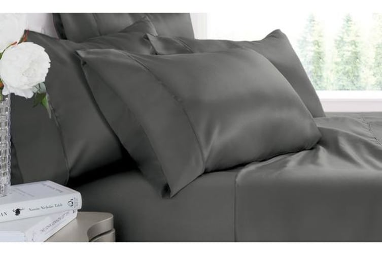 Luxury Super Soft Silky Satin Fitted/ Flat Sheet Pillowcases Bed Set CHARCOAL King Single