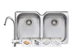 Oliveri Aussie Diaz Double Bowl Undermount Sink And Goose Neck Mixer Tap Pack (AD10U)