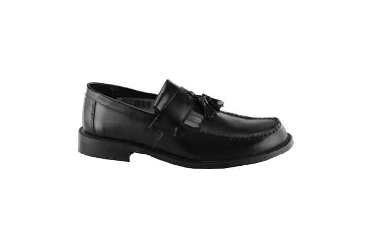 Roamers Mens Toggle Saddle Hi-Shine Leather Loafers (Black) (9 UK)