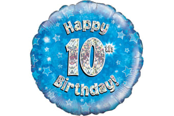 Oaktree 18 Inch Happy 10th Birthday Blue Holographic Balloon (Blue/Silver)