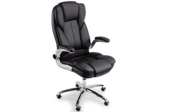 New AVANTE Executive Premium Office Chair Faux Leather Black Retractable Armrest