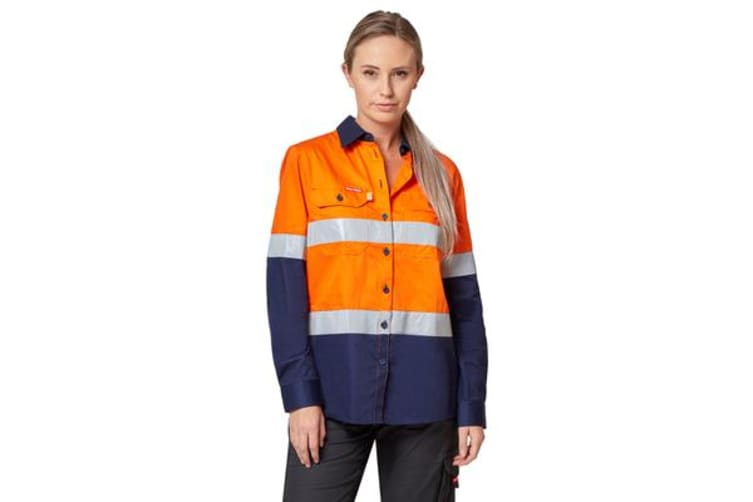 Hard Yakka Hi-Visibility Ventilated Long Sleeve Shirt with Tape (Orange/Navy, Size 22)