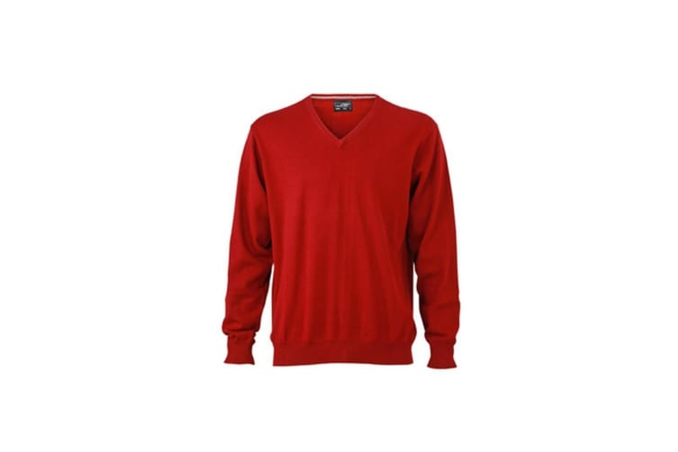 James and Nicholson Mens V-Neck Pullover (Bordeaux Red) (3XL)