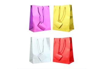 Tallon Holographic Gift Bags (Pack Of 12) (Red/Silver/Gold/Purple)