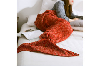 Knitted Mermaid Tail Blanket Super Soft Sleeping Bag Red