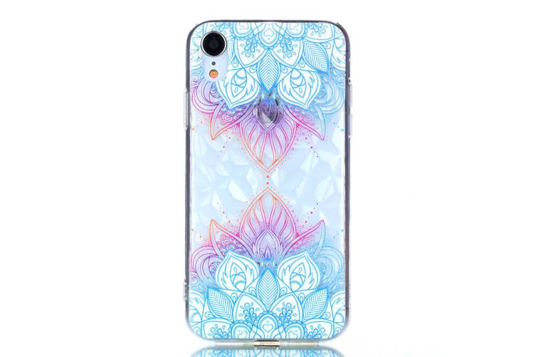 For iPhone XR Case Blue Leaves Pattern Diamond Texture Oil Embossed TPU Cover