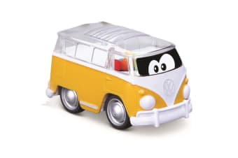 BB Junior 11cm Volkswagen Push Back & Go Poppin Bus w/ Balls Toy Kids 9m+ Yellow