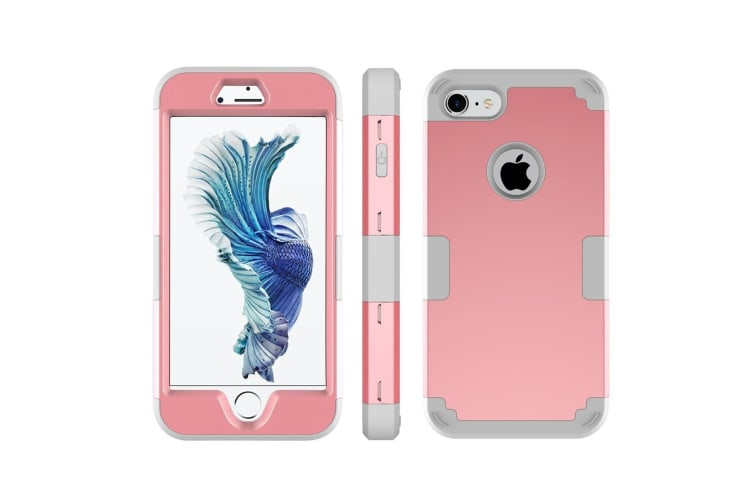 For iPhone 8 7 Case Stylish Triple Layer Armour Durable Protective Cover Pink