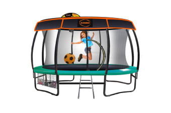 Kahuna Trampoline 14 ft with Basketball set Roof - Green