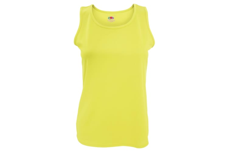 Fruit Of The Loom Womens/Ladies Sleeveless Lady-Fit Performance Vest Top (Bright Yellow) (S)
