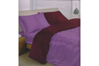 Charisma Satin Reversible Bedding Set (Duvet Cover  Fitted Sheet & Pillowcases) (Amethyst/Purple) (Double)