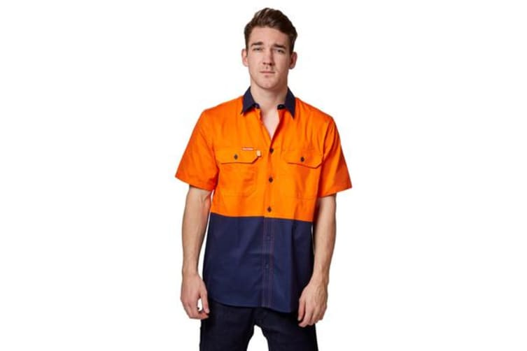 Hard Yakka Koolgear Ventilated Short Sleeve High-Vis Shirt (Orange/Navy, Size M)