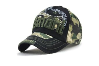 Camo Distressed Baseball Cap Embroidery Curved Bill Dad Hat Cotton Strapback Green