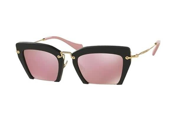 Miu Miu MU10QS - Matte Black (Pink Gold Mirror lens) Womens Sunglasses