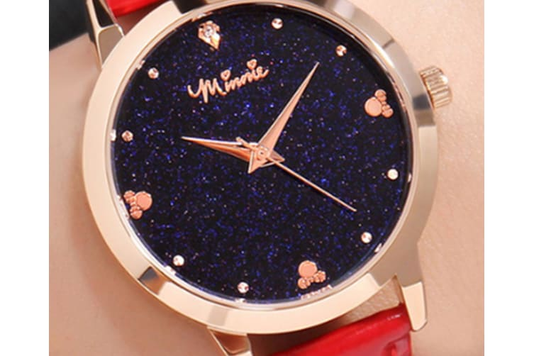Select Mall Creative Stainless Steel and Leather Casual Quartz Watch Fashion Trend Cute Student Shiny Quartz Watch-Red