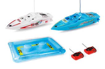 Mini RC Boat Racing Set with Inflatable Competition Pool
